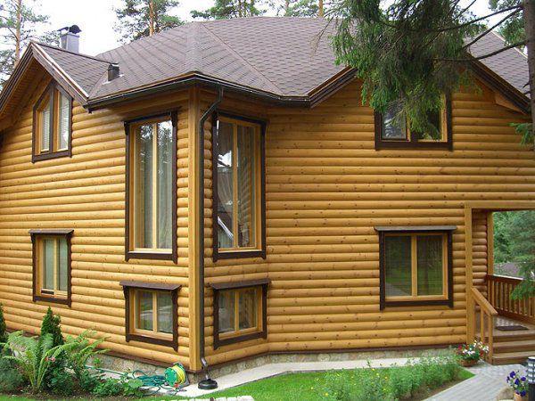 Дома обшитые блок-хаусом: фото панелей для наружных работ ...