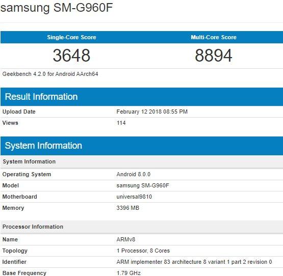 Samsung Galaxy S9 Geekbench Exynos 9810