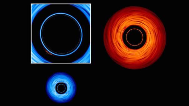 Детальный вид вторичного изображения большой черной дыры, образованной ее меньшим компаньоном.