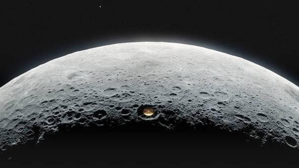 концептуальный радиотелескоп в лунном кратере на обратной стороне Луны