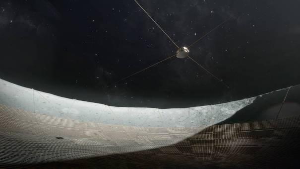 Концептуальный радиотелескоп может быть построен из антенны из проволочной сетки внутри кратера.