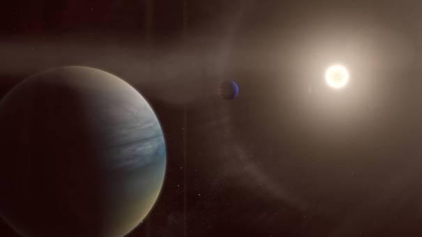 Две газовые планеты вращаются вокруг яркой звезды