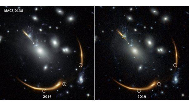 Три изображения одной и той же сверхновой появляются на изображении 2016 года слева, сделанном космическим телескопом Хаббла.