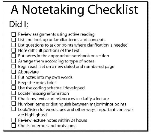 Note taking checklist 504 × 452
