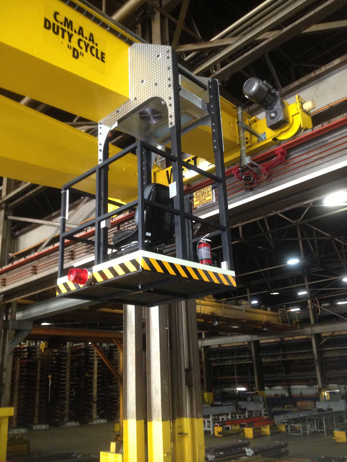 Bedford Castle crane, cab caution reflective tape