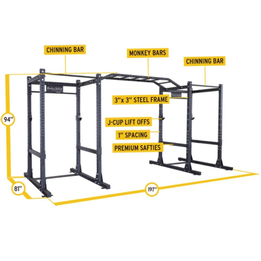Body Solid Double Commercial Power Cage Squat Rack W