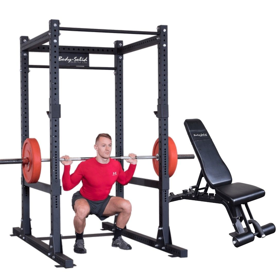 Body Solid Power Cage Squat Rack Gym With Adjustable Bench