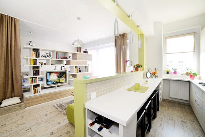 Composta da soggiorno con cucina a vista, due camere e due bagni, la residenza possiede una superficie d'insieme di 73 mq. Cucina Soggiorno 30 Mq Design Foto Caratteristiche Suddivisione In Zone Colori