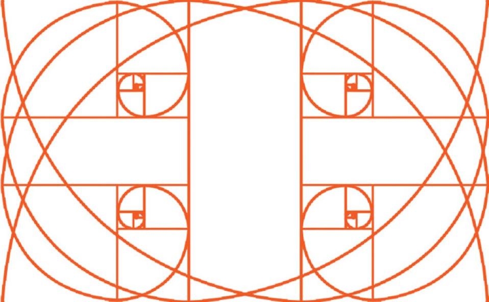the golden ratio grid used in different way in a landscape orientation