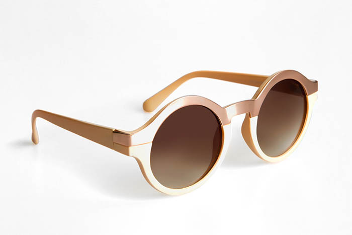 a DIY product photo of round lens sunglasses on a white background