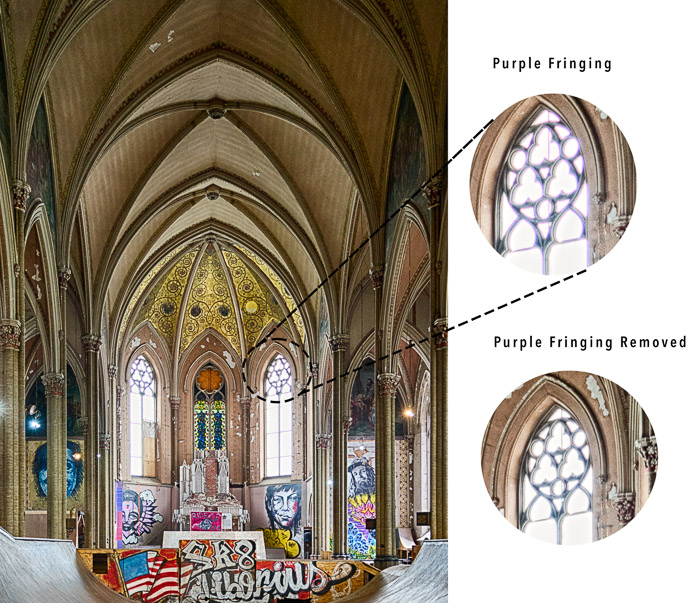 Chromatic abberation example church window