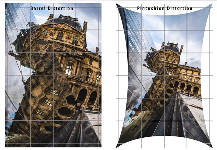 Diptych comparing lens Distortions in a photo of the Louvre