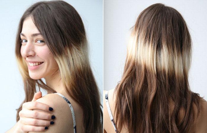 Светлое омбре на темные волосы