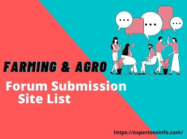 farming agro Forum Submission Site List