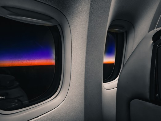 sunrise out of plane window