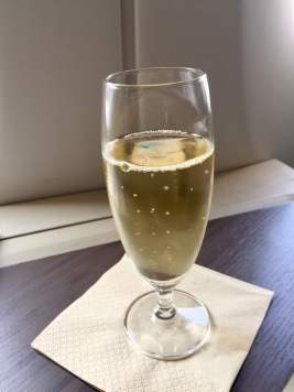 Cathay-Pacific-Business-Class-welcome-champagne-round-world-trip