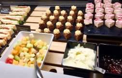 Air-New-Zealand-lounge-Brisbane-food-cakes-fruit-salad