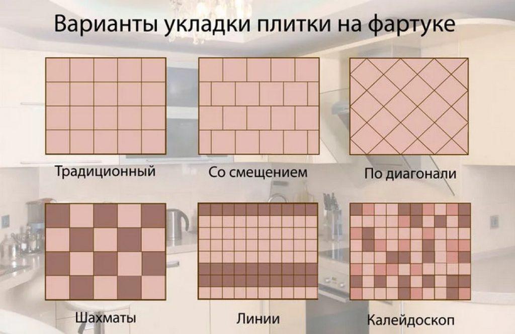 Варианты укладки плитки на фартуке