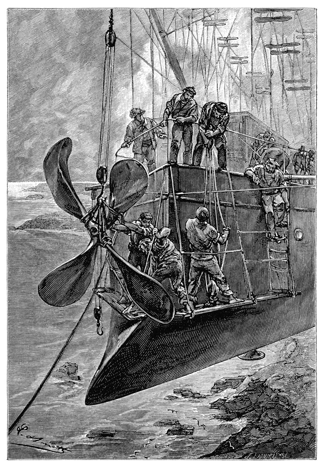 Name: Benett, Léon Dates: 1839-1917 Country: France ILLUSTRATION Subject: Science & technology Technique: Wood engraving Engraver: Ladmiral, Jules, Marie, René Format: Portrait (taller) Source: University of California Libraries, the Internet Archive BOOK Title: The clipper of the clouds Author(s): Verne, Jules Publisher: London: Sampson Low, Marston & Company, Limited, 1887