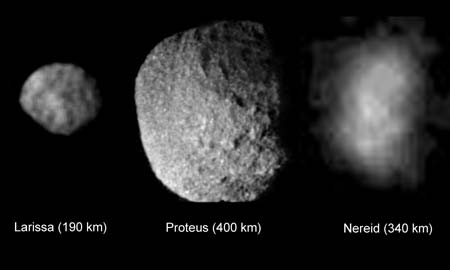 Three of the small moons of Neptunes
