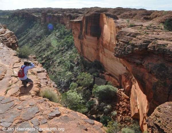 A view down the canyon from the ridge at Watarrka, King's Canyon, National Park, Australia (Photo: Jan Haenraets, 2012).