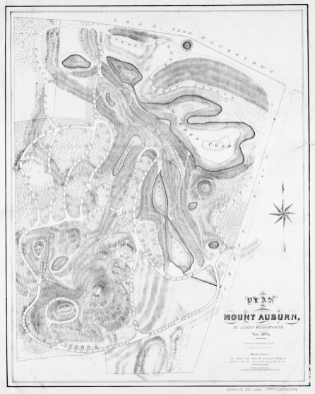 The 1831 Plan of Mount Auburn (Author: Alexander Wadsworth; Publisher: Pendleton's Lithography)