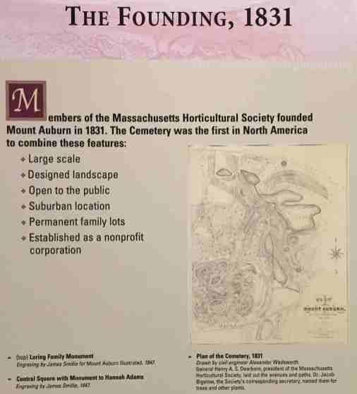 Visitor Centre Interpretation on the founding of Mount Auburn (Photo: Jan Haenraets, 2017)
