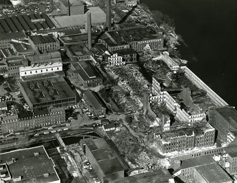 An arial view of the ongoing demolition of the Merrimack Mills in the 1960s (Source: National Park Service).
