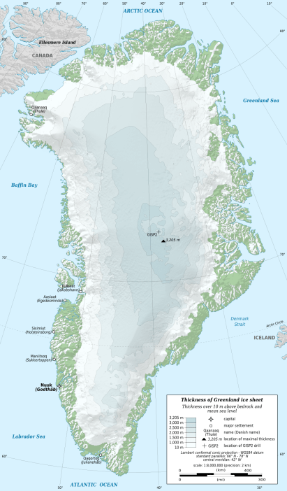 Map of Greenland's ice sheet thickness (Eric Gaba, Wikimedia Commons 2011)
