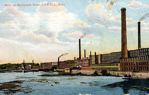 """A postcard from around 1910 of """"Mills on Merrimack River, Lowell, Mass."""" (Source: University of Massachusetts)."""