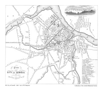 The 1845 map of Lowell (Source: University of Massachusetts & Lowell Historical Society).
