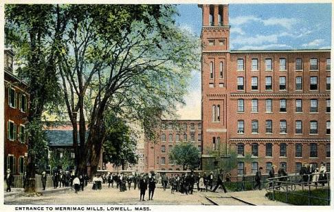 "A postcard named ""Entrance to Merrimac Mills, Lowell, Mass."" (Source: University of Massachusetts)."