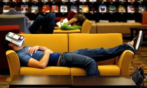 Student sleeping while reading