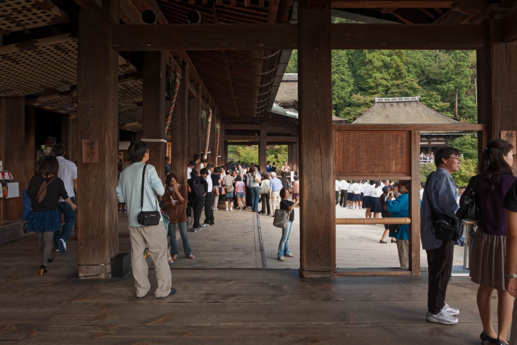 Tourists inside the Kiyomizudera temple