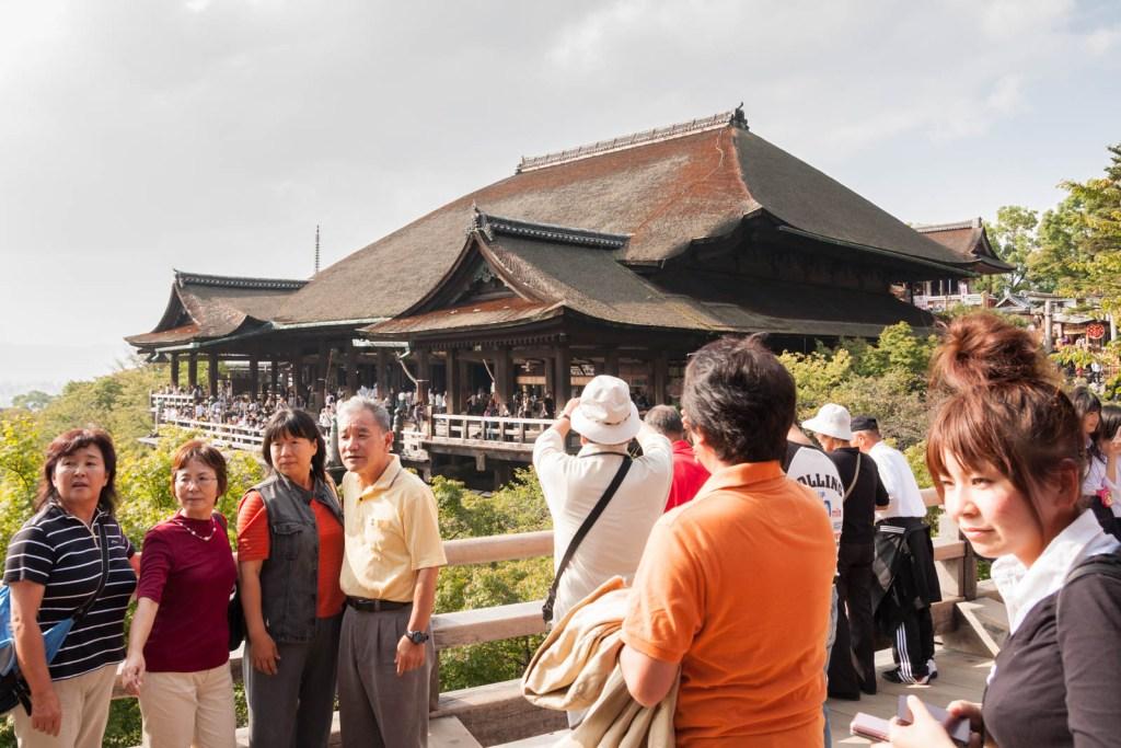 Tourists in Kiyomizudera temple