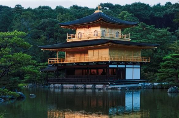 The Kinkakuji temple in Kyoto at dusk