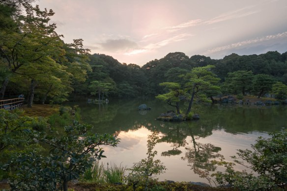 The mirror pond at the Kinkakuji temple