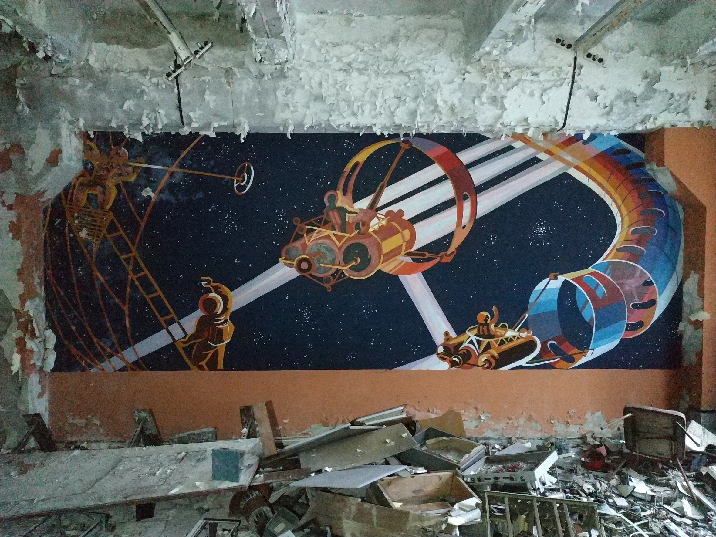 Socialist wall murals in a refectory, Chernobyl