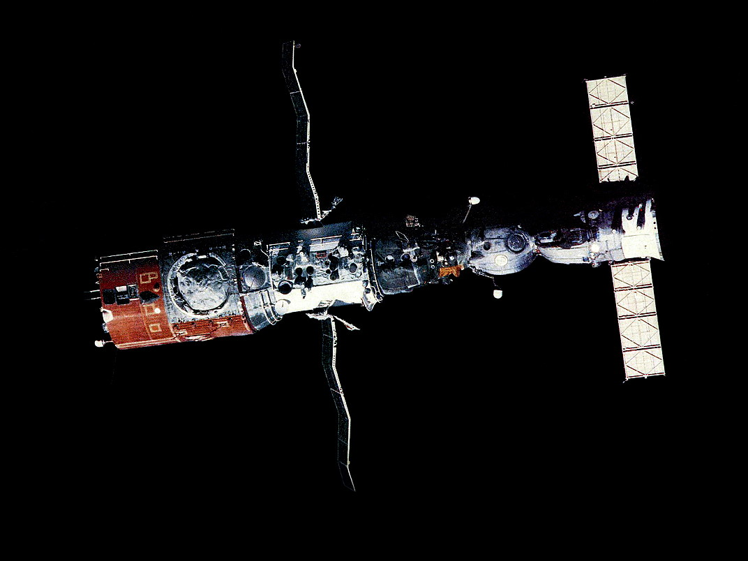 The Soviet Salyut Space Station in orbit