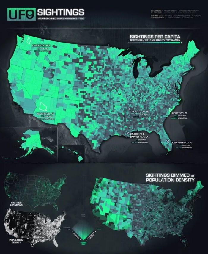 Avistamientos OVNI por persona en EE.UU.