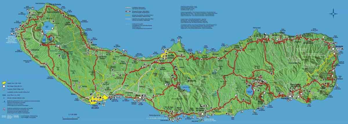 Mapa da ilha de S. Miguel, Açores