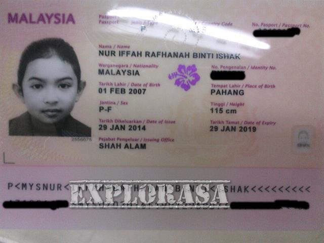 Contoh gambar passport kanak-kanak