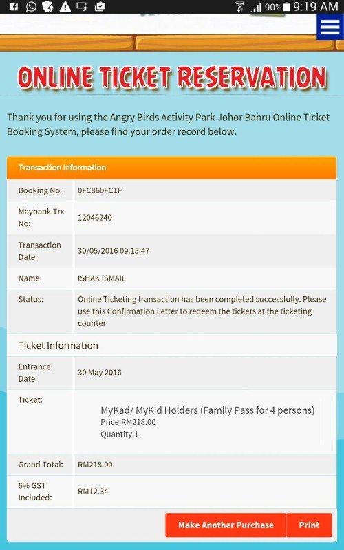 saya dah beli tiket online siap-siap
