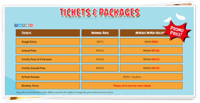 harga tiket dan pakej Angry Birds Activity Park JB