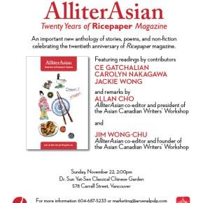 AlliterAsian: Twenty Years of Ricepaper Magazine Anthology Launch