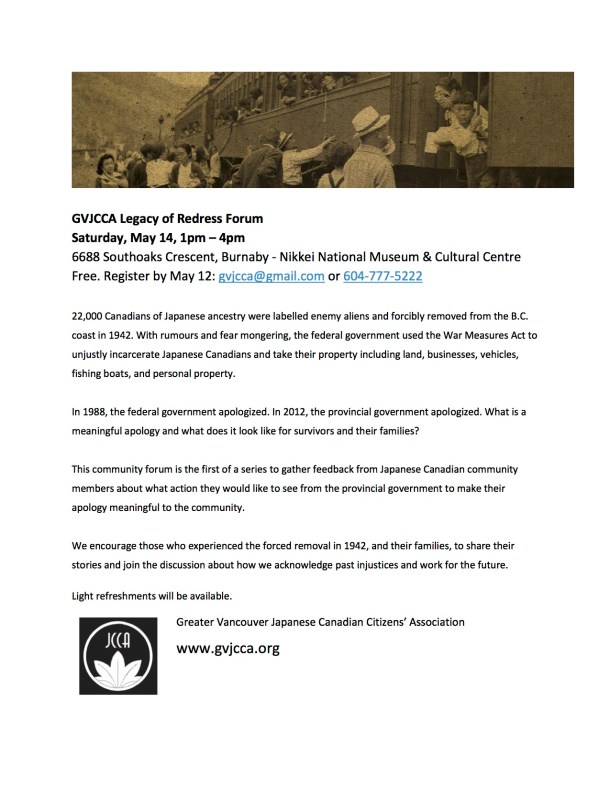 GVJCCA Legacy of Redress Forum 2016May