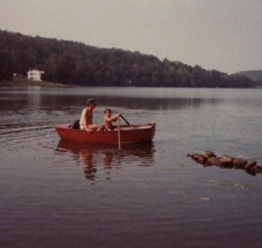 My father and brother on the lake, c. 1980
