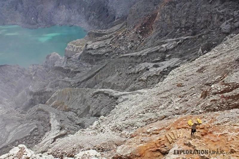 Ijen Crater miner climbing