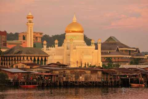 Bandar seri Begawan And Its Gold Covered Mosque, Brunei