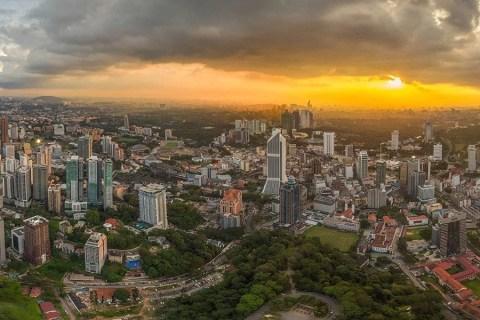 KL Tower – Kuala Lumpur From The Sky At Sunset, Malaysia